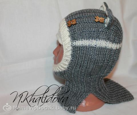шапочка-шлем спицами с