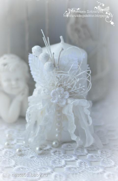 Декор свечи в стиле шебби-шик и коробочка для Новогоднего подарка.