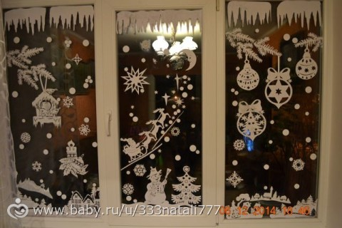 Снежинки на окна своими руками фото