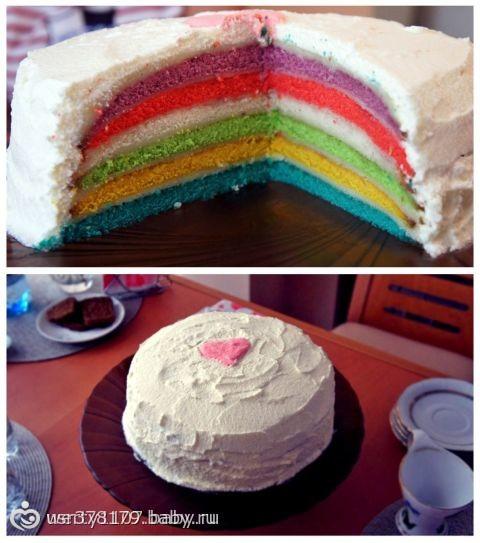 Как сделать торт разноцветным сбоку