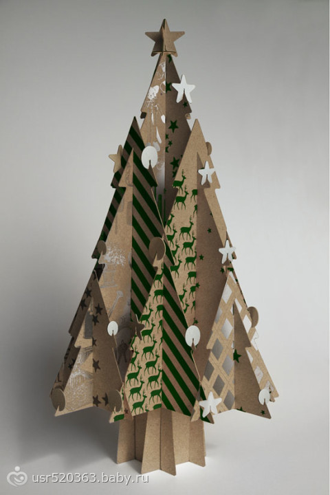 Объемные елочки из картона своими руками