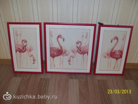 """Вышивка Фламинго """"золотое"""