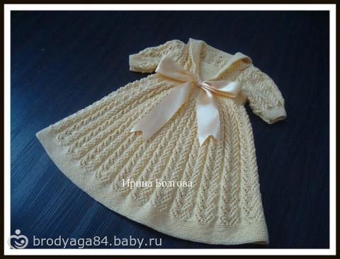 Вязаное детское платье