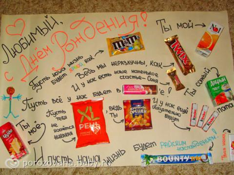 Плакат на день рождения подруги из сладостей