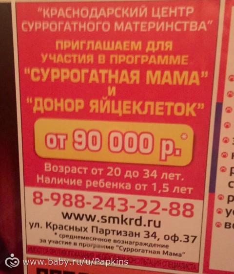 Суррогатная мать цена краснодар