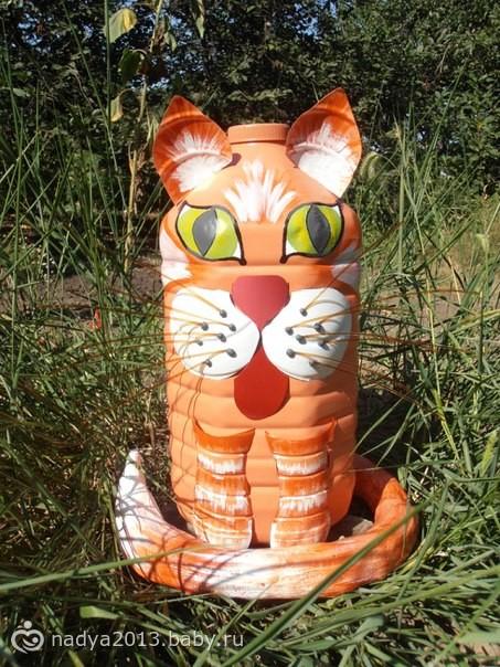 Кот из пластиковых бутылок своими руками с пошаговым фото