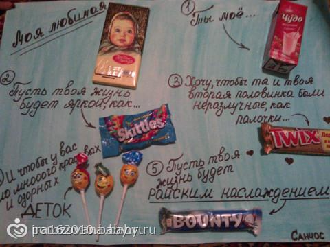 Плакат с шоколадками своими руками маме