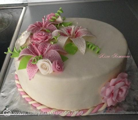 Торты с мастикой с цветами