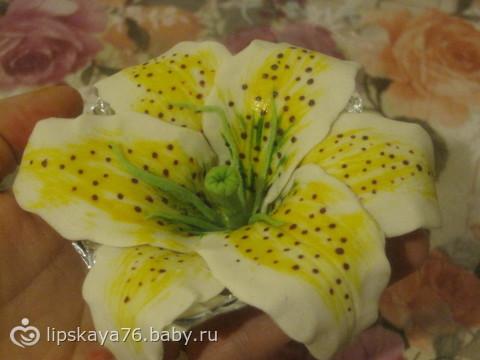 Моя первая лилия из желатиновой мастики))) и тортик с белковым кремом)))
