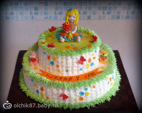 Детский кремовый торт для девочки