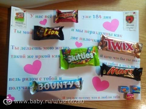 Открытка своими руками со сладостями