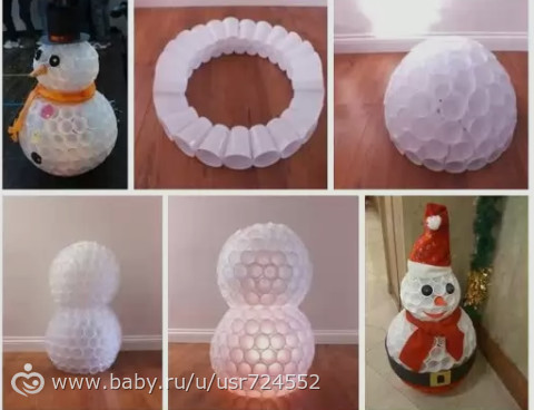 Как сделать снеговика из одноразовых стаканов фото 926