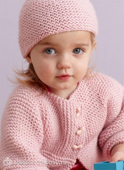 Кардиган для девочки спицами Детский кардиган и шапочка