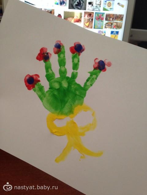 Днем рождения, открытка пальчиковыми красками дедушке