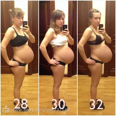 Беременность двойней фото живота по неделям