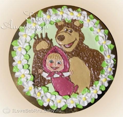 торт маша и медведь из крему фото