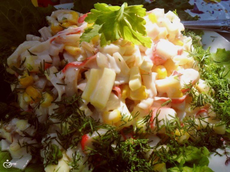 Салат от Дивы кальмары с сыром )