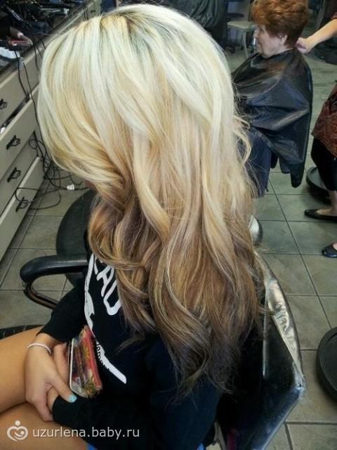 Окраска волос темный низ светлый верх фото
