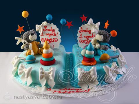 Детские торты для двойняшек фото